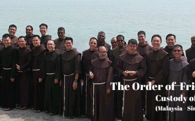 Franciscan friars gather at the assembly in preparation for Chapter.